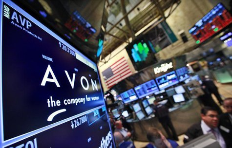 A screen displays the price for Avon Products Inc. at the post that trades the stock on the floor of the New York Stock Exchange, May 15, 20