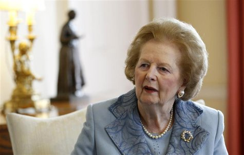 Britain's former Prime Minister Margaret Thatcher meets Prime Minister David Cameron inside 10 Downing Street in London June 8, 2010. REUTER