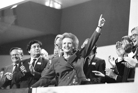 Then British Prime Minister Margaret Thatcher points skyward as she receives standing ovation at Conservative Party Conference in this Octob