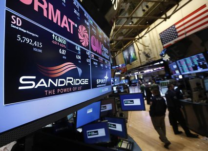An electronic display identifies the post that trades SandRidge Energy stock on the floor of the New York Stock Exchange January 11, 2013. P