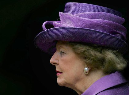 Britain's former Prime Minister Baroness Thatcher attends a service to commemorate the 25th anniversary of the liberation of the Falkland Is
