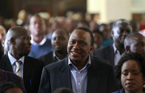 Kenya's newly elected President Uhuru Kenyatta attends the Easter Mass at the Saint Austin's Catholic church in the capital Nairobi, March 3