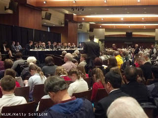 Citizens attend a Joint Finance Committee listening session for the 2013-15 state budget, held April 8, 2013 at Lambeau Field. (courtesy of FOX 11).