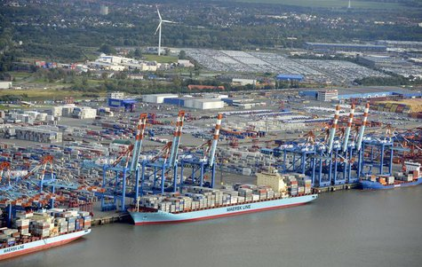 Shipping terminals and containers are pictured in the harbour of the northern German of Bremerhaven on the banks of the river Elbe, late Oct