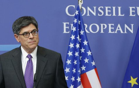 U.S. Treasury Secretary Jack Lew addresses a news conference after meeting European Council President Herman Van Rompuy (not pictured) in Br