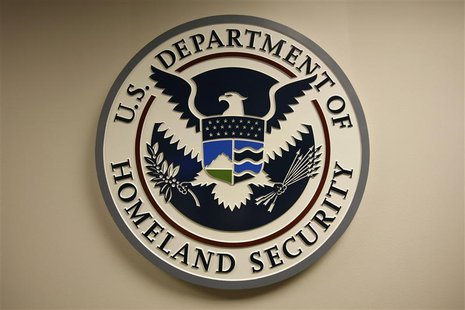 U.S. Department of Homeland Security emblem is pictured at the National Cybersecurity & Communications Integration Center (NCCIC) located ju