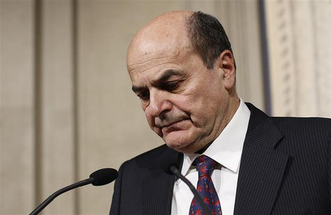 Italy's PD (Democratic Party) leader Pierluigi Bersani reacts during a news conference following a meeting with Italian President Giorgio Na