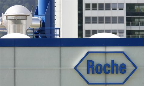 A logo is pictured on Swiss drug makers Roche plant in Kaiseraugst near Basel July 21, 2008. REUTERS/Christian Hartmann