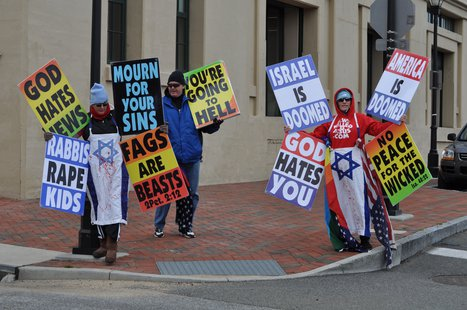Members of the Westboro Baptist Church demonstrate at the Virginia Holocaust Museum on March 2, 2010  - Wikimedia photo by JC Wilmore