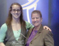 NCAA National D3 Player of the Year Sam Barber and UW-Stevens Point Women's Head Basketball Coach Shirley Egner
