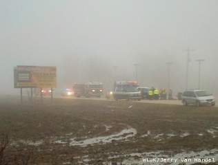 Authorities on the scene of a fatal crash on Highway 32 in the Township of Pittsfield on April 9, 2013. (courtesy of FOX 11).