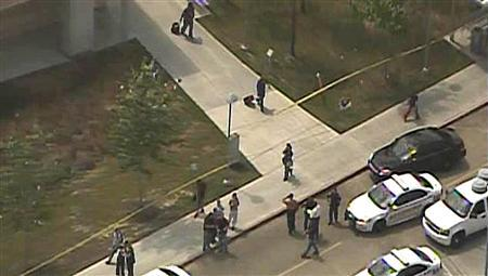 A police line is set up near the scene of a mass stabbing at the Cy-Fair campus of Lone Star College in northwest Houston, as seen in this still image from video courtesy of KPRC-TV April 9, 2013.  Credit: REUTERS/KPRC-TV