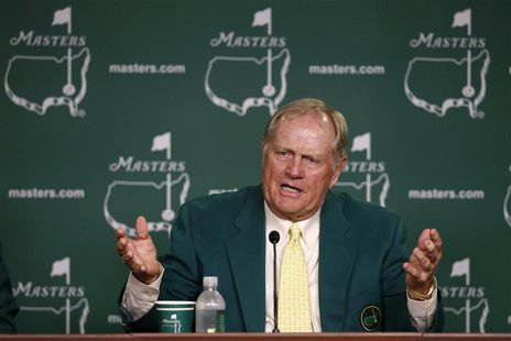 Former champion Jack Nicklaus of the U.S. answers a question during a press conference at the 2013 Masters golf tournament at the Augusta Na