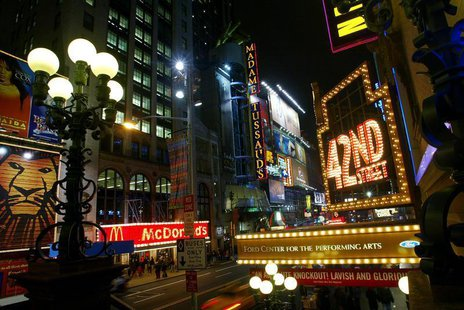 Lights illuminate 42nd Street at Times Square in New York in this photo taken April 2, 2004.
