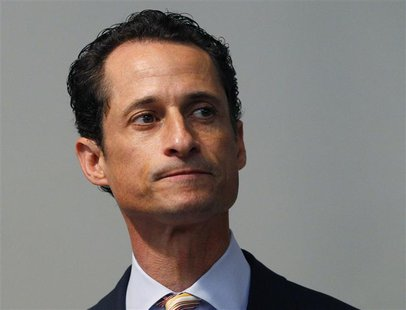 U.S. Rep. Anthony Weiner (D-NY) pauses as he announces that he will resign from the United States House of Representatives during a news con