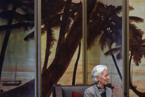 International Monetary Fund (IMF) Managing Director Christine Lagarde speaks during a meeting with China's President Xi Jinping (not picture