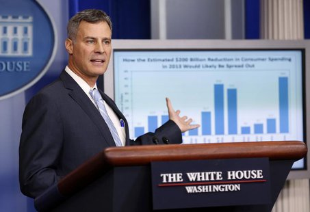 Alan Krueger, chairman of the Council of Economic Advisers, speaks during a media briefing at the White House in Washington November 26, 201