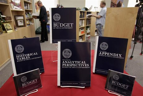 Copies of U.S. President Barack Obama's Fiscal Year 2014 Budget is on display at the Government Printing Office in Washington April 10, 2013