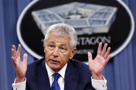 U.S. Defense Secretary Chuck Hagel speaks during a briefing on the Defense Department's FY2014 budget at the Pentagon in Washington April 10