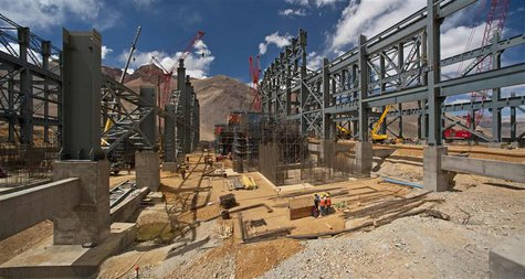 Construction progresses at Barrick Gold's gold processing plant at the Pacua-Lama mine in Argentina in this January 2, 2012 handout photo. R