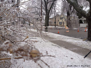 Downed tree limbs and power lines at N. Outagamie St. and W. Franklin St. in Appleton, Wednesday, April 10, 2013. (courtesy of FOX 11).