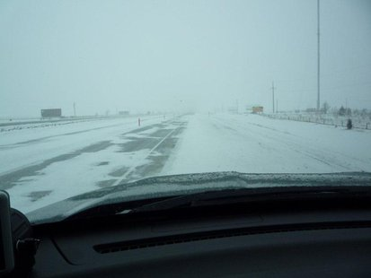 View from South Dakota Highway Patrol cruiser on I-90 west of Mitchell. 4.10.13 - Photo courtesy South Dakota Highway Patrol