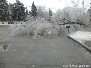 Storm damage at Prospect Ave. and Perkins St. in Appleton, April 10, 2013. (courtesy of FOX 11).