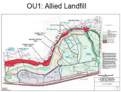 Its a landfill with a creek that runs through it. The fear is that eventually it will end up back in the creek, which then flows to the river.