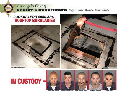 Five suspects in a series of bank robberies are shown in this combination of booking mug shots released by the Los Angeles County Sheriff's