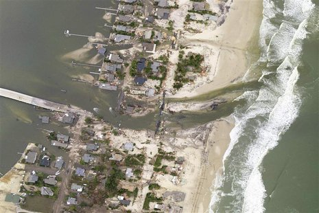 This National Oceanic and Atmospheric Administration (NOAA) photograph taken on October 31, 2012 shows a new inlet that was cut across the b