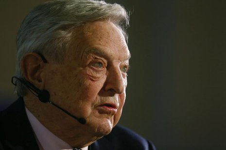 George Soros, Chairman of Soros Fund Management LLC addresses the audience during an economic speech in Frankfurt April 9, 2013, on the topi