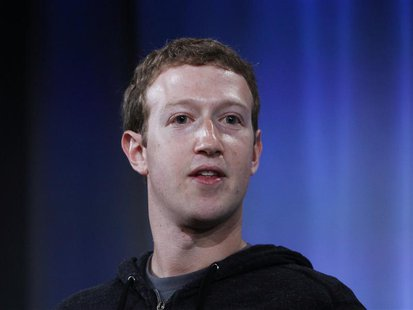 Mark Zuckerberg, Facebook's co-founder and chief executive during a Facebook press event to introduce 'Home' a series of applications that i