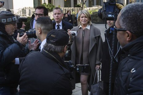 Martha Stewart (C) holds a camera as she departs the New York state Supreme Court after testifying in Manhattan March 5, 2013. REUTERS/Lucas