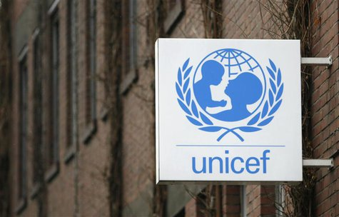 The logo of the United Nations Childrens Fund, UNICEF, is pictured at their German headquarters in Cologne February 20, 2008. REUTERS/Ina Fa