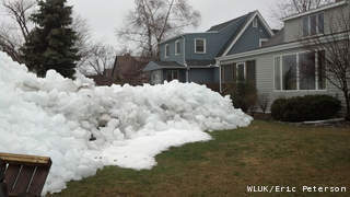 Ice shoves piled up on the western shore of Lake Winnebago in Oshkosh, Thursday, April 11, 2013. (courtesy of FOX 11).