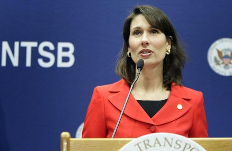 National Transportation Safety Board Chairman Deborah A. P. Hersman briefs reporters on the NTSB's ongoing investigative work being done on