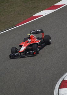 Marussia Formula One driver Max Chilton of Britain drives during the first practice session of the Chinese F1 Grand Prix at the Shanghai Int