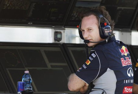 Red Bull Formula One team principal Christian Horner looks on during the second practice session of the Australian F1 Grand Prix at the Albe