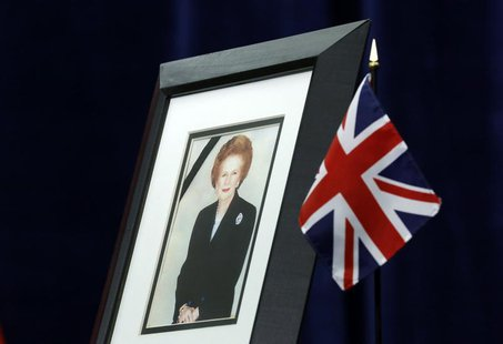 A portrait of former British prime minister Margaret Thatcher is pictured at the British High Commission in Ottawa April 9, 2013. REUTERS/Ch