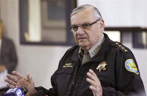 Maricopa County Sheriff Joe Arpaio addresses the media about a simulated school shooting in Fountain Hills, Arizona, in this February 9, 201
