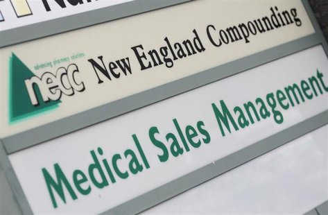 A sign for pharmaceutical compounding company New England Compounding Center (NECC), a producer of the steroid methylprednisolone acetate, i