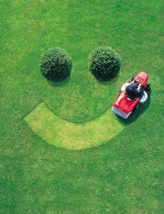 mowing lawn smile