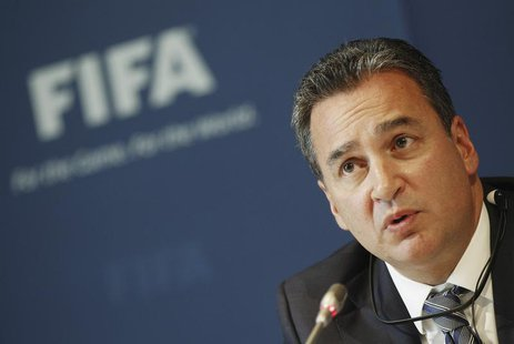 Michael J. Garcia, Chairman of the investigatory chamber of the FIFA Ethics Committee attends a news conference at the at the Home of FIFA i