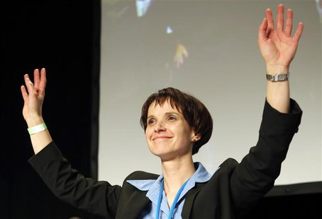 "Frauke Petry, one of three new elected party leaders of Germany's anti-euro party ""Alternative fuer Deutschland"" (Alternative for Germany) c"