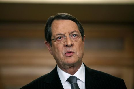 Cyprus' President Nicos Anastasiades addresses the nation with a televised speech from the presidential palace in Nicosia March 25, 2013. RE