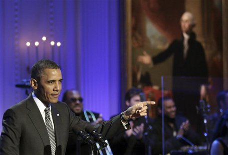 U.S. President Barack Obama delivers remarks at a concert celebrating Memphis Soul music at the White House in Washington April 9, 2013. REU