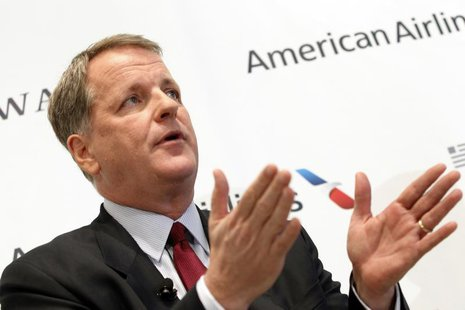 U.S. Airways CEO Doug Parker announces the planned merger of AMR Corp, the parent of American Airlines, with U.S. Airways during a news conf
