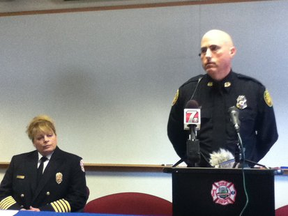 Stevens Point Fire Chief Tracey Kujawa (L) and Stevens Point Police Chief Kevin Ruder (R)