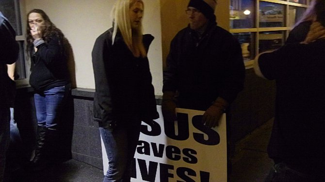Listener informing the protestor in no uncertain terms that he will not be getting her number.