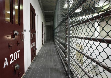The interior of a communal cellblock is seen at Camp VI, a prison used to house detainees at the U.S. Naval Base at Guantanamo Bay in this f